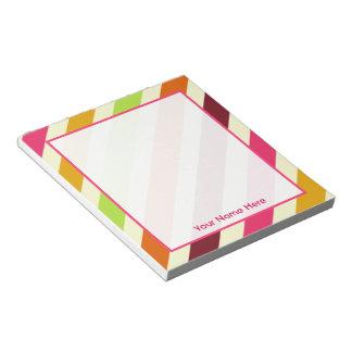 Bright Boho Stripes Personalised Notepad
