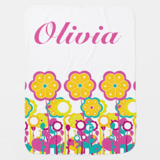 Bright Bold Baby Girl Large Flower Floral Colorful Baby Blanket