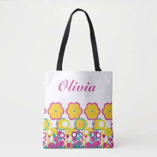 Bright Bold Baby Girl Large Flower Floral Colorful Tote Bag