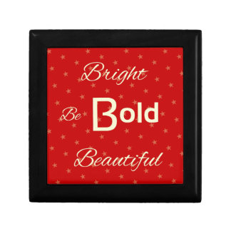 Bright Bold Beautiful inspire red gold Small Square Gift Box