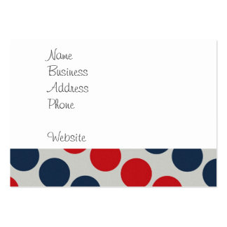 Bright Bold Big Red and Blue Polka Dots Pattern Business Card