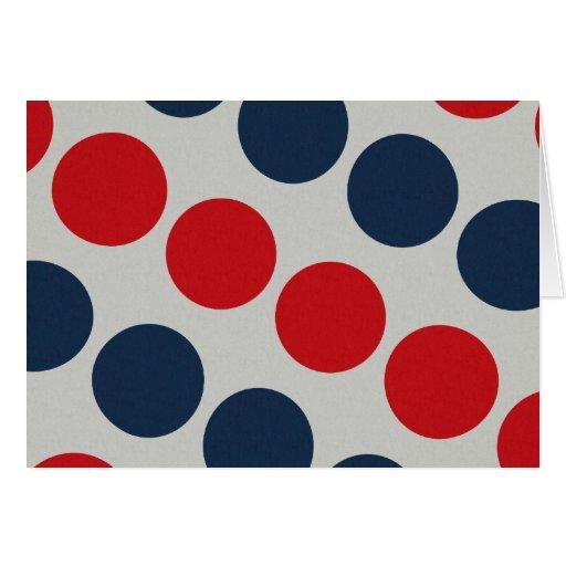 Bright Bold Big Red and Blue Polka Dots Pattern Greeting Card