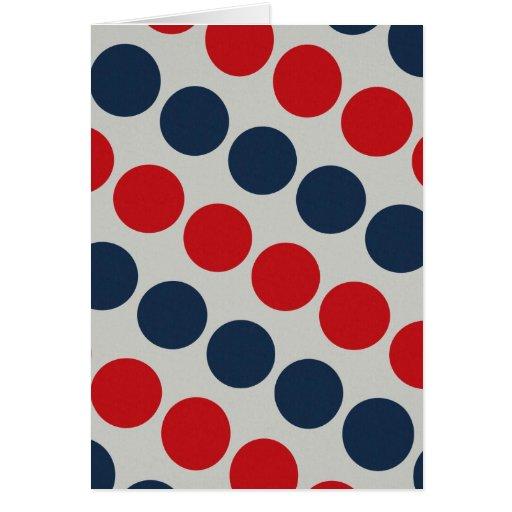 Bright Bold Big Red and Blue Polka Dots Pattern Card