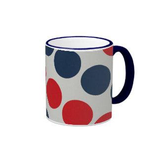 Bright Bold Big Red and Blue Polka Dots Pattern Coffee Mug