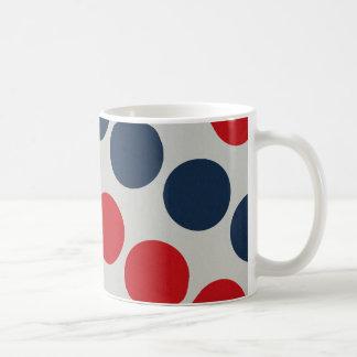 Bright Bold Big Red and Blue Polka Dots Pattern Mug