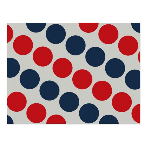 Bright Bold Big Red and Blue Polka Dots Pattern Postcards
