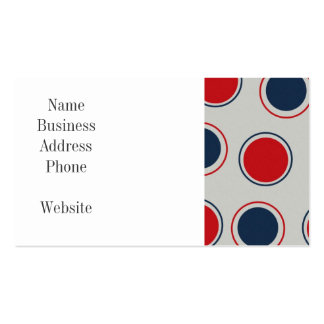 Bright Bold Big Red Blue Polka Dots Pattern Business Card Template