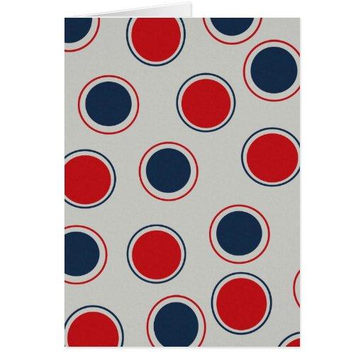 Bright Bold Big Red Blue Polka Dots Pattern Greeting Card