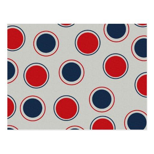 Bright Bold Big Red Blue Polka Dots Pattern Postcards