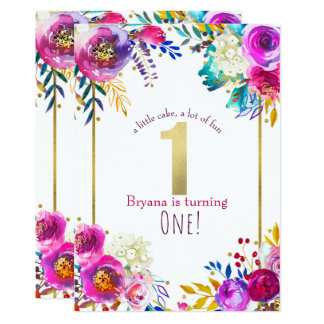 Bright Bold Colorful Floral Modern 1st Birthday Card