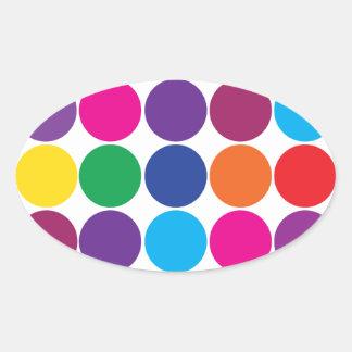 Bright Bold Colorful Rainbow Circles Polka Dots Oval Sticker