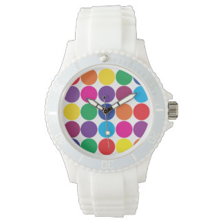 Bright Bold Colorful Rainbow Circles Polka Dots Watch