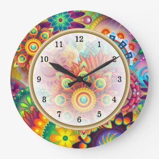 Bright Bold Colors Arabic Numbers Large Clock