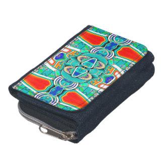 Bright bold tribal denim purse wallet