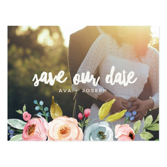 BRIGHT BOTANICAL PHOTO POSTCARD SAVE THE DATE
