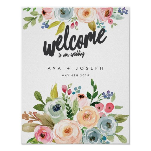 BRIGHT BOTANICAL WELCOME TO OUR WEDDING -GREY POSTER