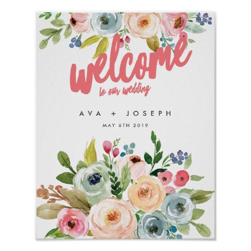 BRIGHT BOTANICAL WELCOME TO OUR WEDDING POSTER-PIN POSTER