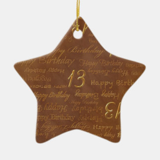 Bright Brass 13th Birthday on New Copper Print Ornament