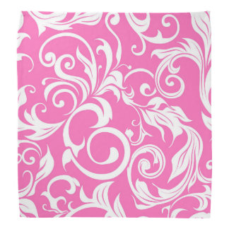 Bright Bubblegum Pink Floral Wallpaper Pattern Bandana