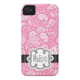 Bright Bubblegum PINK Paisley Pattern Girly Name iPhone 4 Case-Mate Case