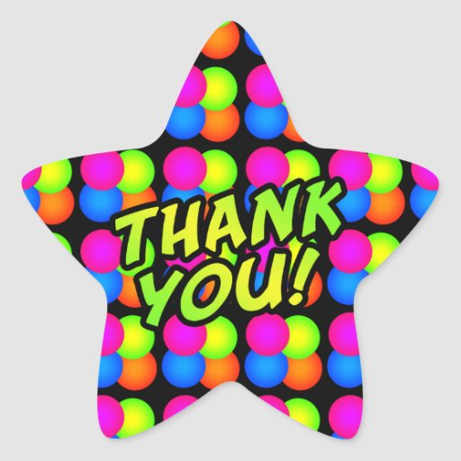 Bright Bubbles Star Thank You! Stickers