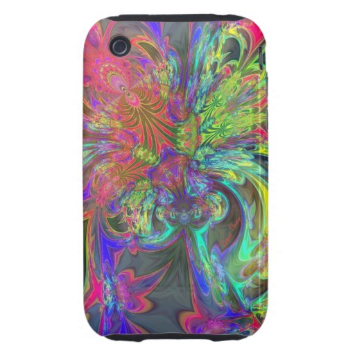 Bright Burst of Color – Salmon & Indigo Deva Tough iPhone 3 Case