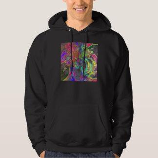 Bright Burst of Color – Salmon & Indigo Deva Hooded Sweatshirt
