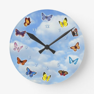 Bright Butterflies Round Clock