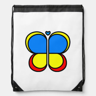 Bright Butterfly Drawstring Backpack