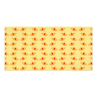 Bright Butterfly Pattern in Yellow and Red Custom Photo Card