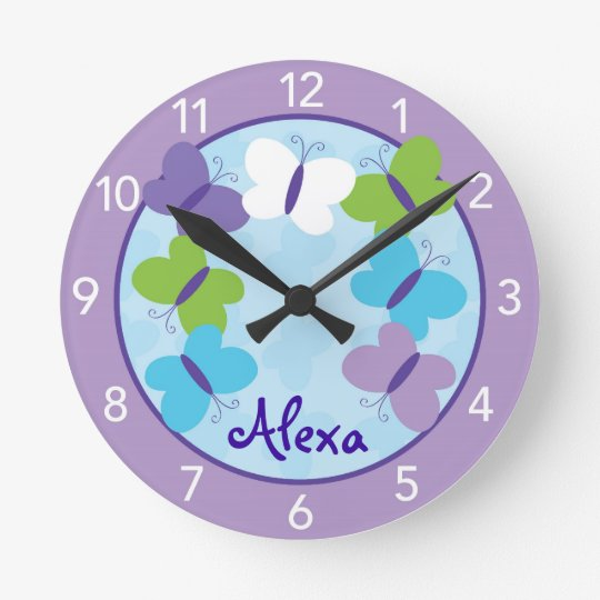 Bright Butterfly Personalised Nursery Wall Clock