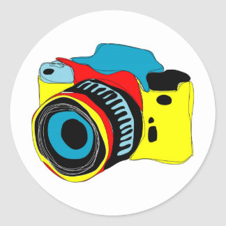 Bright camera illustration round sticker