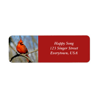 Bright Cardinal Adress Labels (White Text)