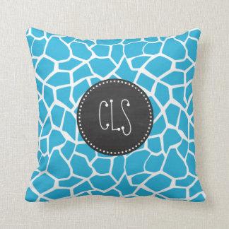 Bright Cerulean Giraffe Animal Print; Chalkboard Cushion