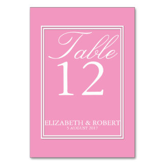 Bright Chalky Pastel Magenta Wedding Invite Set Table Cards
