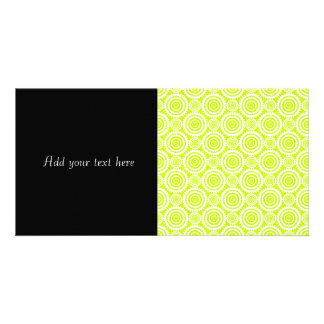 Bright Chartreuse Day Glow Geometric Pattern Custom Photo Card