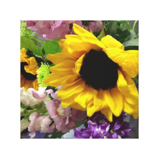 Bright cheerful flowers with Sunflower Canvas Print