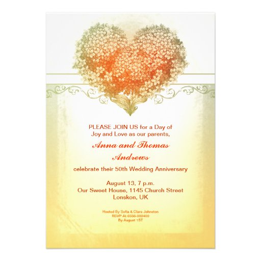 bright cheerful warm heart flowers anniversary custom invitations
