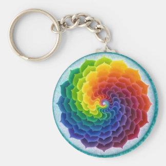 Bright, Cheery Rainbow Flower Key Ring