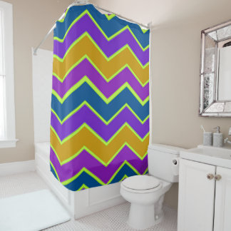Bright Chevron Trimmed Yellow Shower Curtain