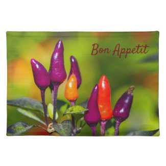 Bright Chilli Pepper Cloth Placemats