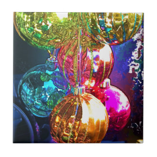 Bright Christmas Ornaments Small Square Tile