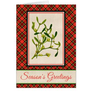 Bright Christmas Plaid and Vintage Mistletoe Card