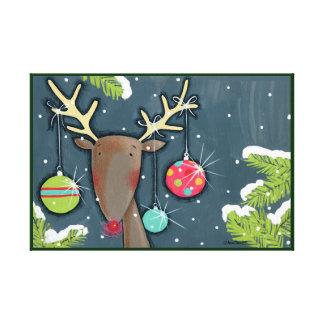 Bright Christmas Reindeer Canvas Print
