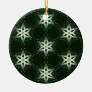 Bright Christmas Stars Round Ceramic Decoration