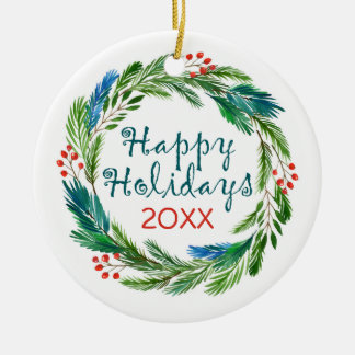 Bright Christmas Watercolor Holly Pine Wreath Christmas Ornament