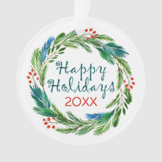 Bright Christmas Watercolor Holly Pine Wreath Ornament