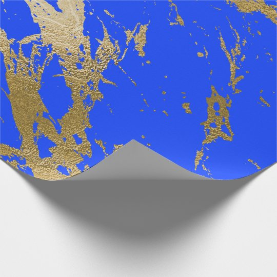 Bright Cobalt Blue Gold Marble Shiny Glam Wrapping