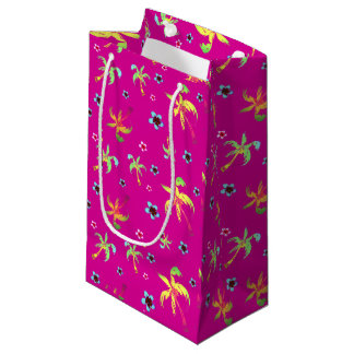 Bright coconut trees and fresh frangipanis small gift bag