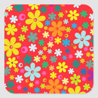 BRIGHT COLOR FLOWERS CUTE  FLOWER PATTERN SQUARE STICKER